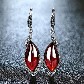Vintage Garnet Drop Earrings - 925 Sterling Silver