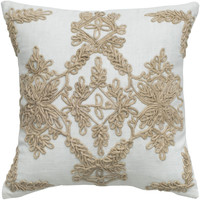 "Applique Jute Embroidery and Cording Ivory Pillow Cover (18"" x 18"")"