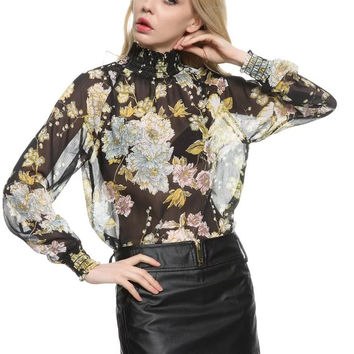Floral Print Turtleneck Long Sleeve Mesh Chiffon Blouse