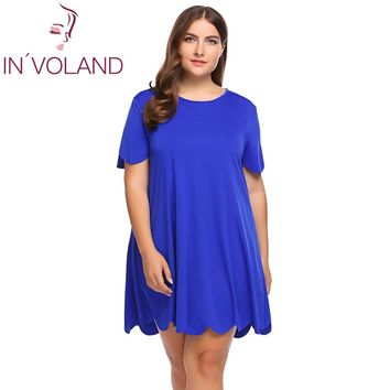IN'VOLAND Plus Size Women A-Line Dress XL-5XL O-Neck Short Sleeve Scalloped Basic Mini Vintage Party Dresses Vestidos Robe