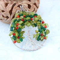 Peridot, green aventurine and red agate silver-plated wire Tree of Life pendant, apple tree pendant