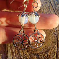 Flower moonstone gemstone earrings -Gemstone jewelry -Moonstone jewelry -Chiristmas - holiday - gifts for her - womens gifts - fairy jewelry