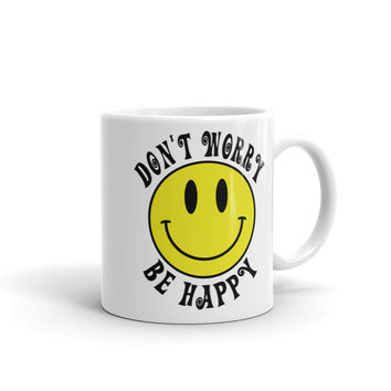 Don't Worry Be Happy Smiley Face Emoji Coffee Mug