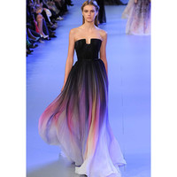 Strapless Gradient Pleats Women Sexy Dress of Ombre Chiffon Prom Evening Party