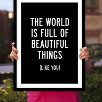 """Typography Art """"Beautiful Things Like You"""" Wall Art Inspirational Quote Black and White Print Typographic Print"""