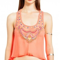 6 Shore Road - Nuri Beaded Top Coral | ShopMiamiStyle