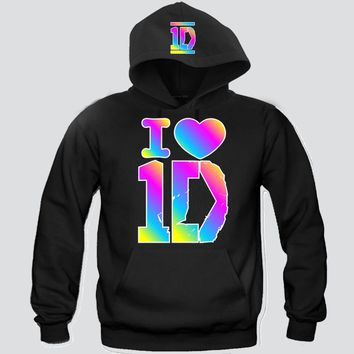 I Heart 1D Rainbow Colors Unisex Hooded Sweatshirt Funny and Music
