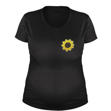 Embroidered Sunflower Patch (Pocket Print) Maternity Pregnancy Scoop Neck T-Shirt