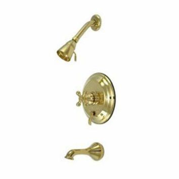 DCCK1IN elements of design eb36320ax new orleans polished brass pressure balanced tub and shower faucet with metal cross