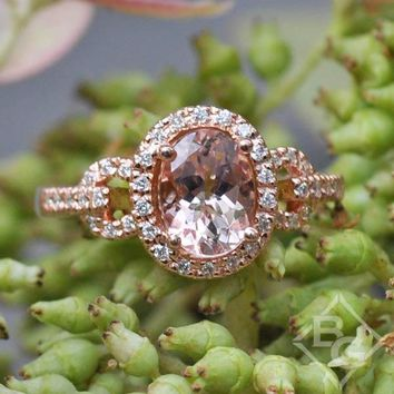 Ben Garelick Rose Gold Oval Cut Halo Morganite Engagement Ring