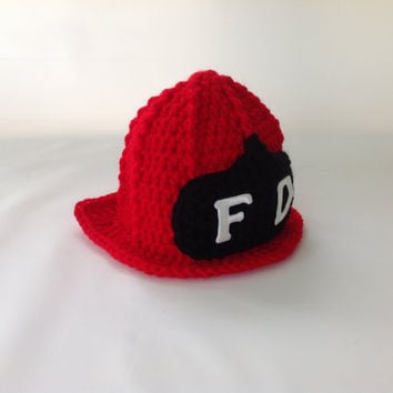 Baby Firefighter Fireman Hat Helmet - Photography Prop - Newborn - 0-3 - 3-6 - 6-9 - Crochet Firefighter Fireman Hat Helmet - Red Hat