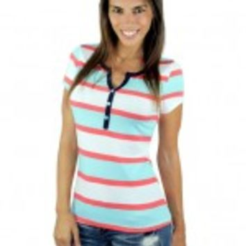 Coral And Mint Short Sleeve Top