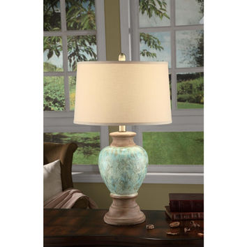 Crestview Collection Greenwich Lighting Hayden Table Lamp, Sea Blue/Clay