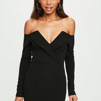 Missguided - black bardot foldover wrap dress