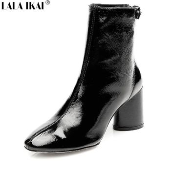 LALA IKAI Women Boots Square Heel Round Toe Thick Heel Ankle Boots  2017 Fashion Patent Leather Ladies Shoes 001N1503-5