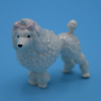 Miniature Poodle Figurine Vintage Ceramic Mini Dog Figure Shadow