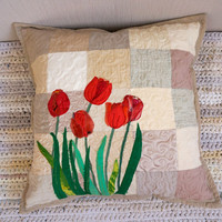 Throw Pillow Cover, Decorative Floral Pillow, Art Quilted Red Tulips, Unique Patchwork Pillow, Handmade Pillow Case, Romantic Beige Pillow