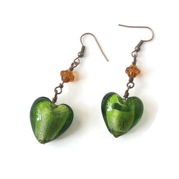 Earrings Green Heart Copper chain long Dangle everyday wear