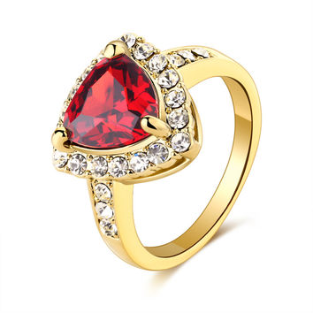 Cz diamond ring 18k gold plated ruby sapphire women fashion wedding party romantic anel crystal Africa anelli lover girl Jewelry