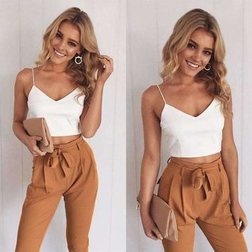 Womens Two Piece Outfits Pants Set Rompers Long Pants 2 Piece Set V Neck Crop Tops Bodycon Playsuits, Rompers
