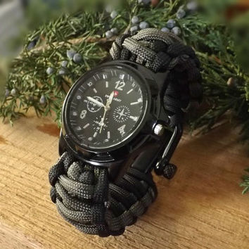 Survival Watch Swiss Army Black Facing and Black Casing Paracord  Watch With D Clip Custom Made