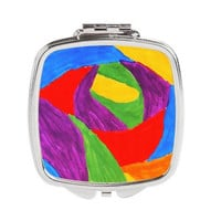 Art Compact Mirror - FREE shipping to USA colorful cute primary colors abstract painting silver compact double mirror gifts for her unique
