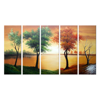 Brown & Green Trees of the Season Landscape Canvas Wall Art Oil Painting