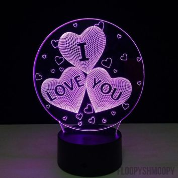"""♥3 Hearts """"I Love You"""" 3D Lamp🔮"""