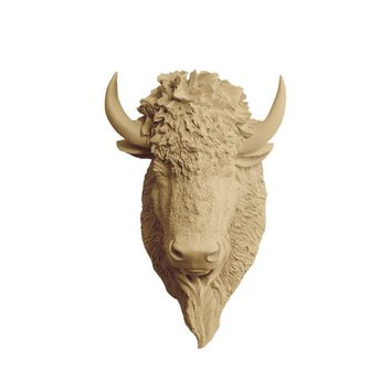 The Yellowstone | Large Buffalo Bison Head | Faux Taxidermy | Khaki Brown Resin