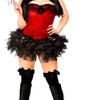 4 PC Pin-Up Devil Costume