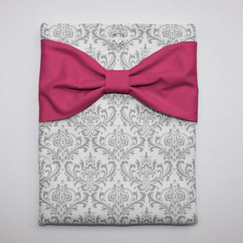 MacBook Pro / Air Case, Laptop Sleeve - Gray and White Damask Hot Pink Bow - Double Padded