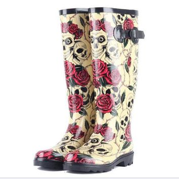 New Rose Skull Women Rain Boots Rubber Rain boots Skeleton Head Sexy Cool