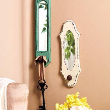 Rustic Vintage Wall Mirror Hook Large Teal Ivory Distressed Antiqued Wood NEW