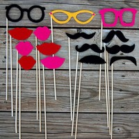 Photobooth Mustache on a stick and Lips and Glasses by loriii
