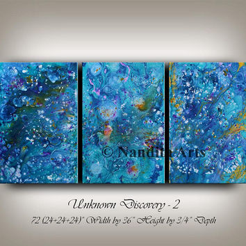 BLUE ABSTRACT PAINTING Large Modern wall art Original Painting Multi color Canvas Art Decor Gift for her Contemporary Art - Nandita Albright