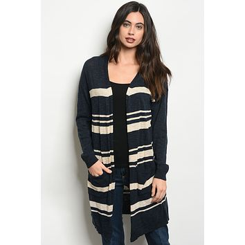 Long Sleeve Stripe Knit Sweater Cardigan