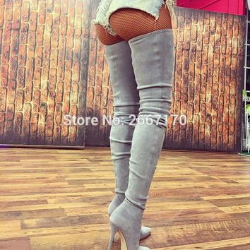 Chaussure Femme 2017 Women's Winter Shoes High Heels Pointed Toe Overknee Crotch Booties Stretch Suede Stiletto Thigh High Boots