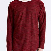 Feathers Textured Curved Hem Crew Neck