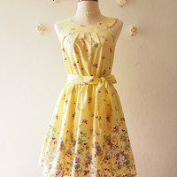 Tea Party - Yellow Floral Dress Vintage Sundress Butterfly Summer Dress Audrey Hepburn Inspired Bridesmaid Dress Vintage Modern, Custom