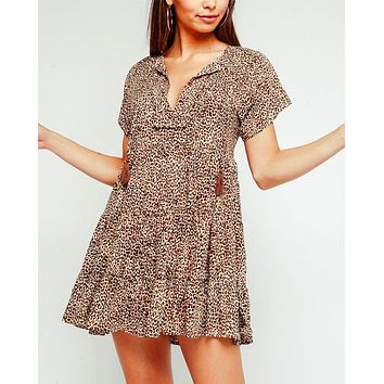 Olivaceous - Leopard V-Neck Babydoll Dress