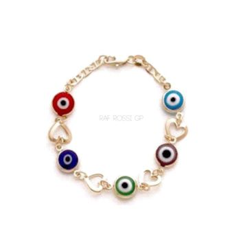 Heart Evil Eye Bracelet 18Kts of Gold Plated