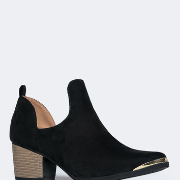 Low Heel Cutout Ankle Boots