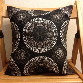 14 by 14 inch throw pillow - black and white circle pattern