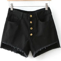 Black Buttons Ripped Hem Denim Shorts