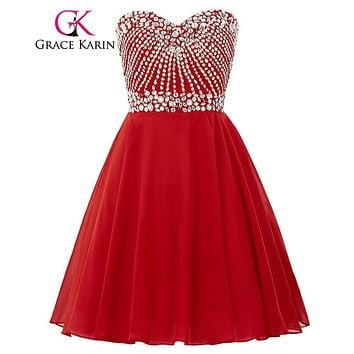 Grace Karin Short Prom Dress 2017 Sweetheart Beading Sequin Party Gowns Knee Length Red Navy Blue Special Occasion Dresses Lady