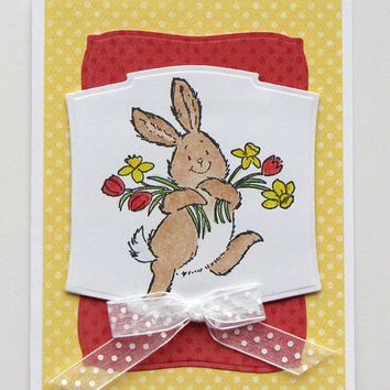 Kids Easter Bunny Card, Hand Colored, handmade, red and yellow, spring, greeting card, rabbit, tulips, Easter card