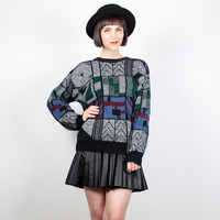 Vintage 80s Sweater Abstract Geometric Print Knit 1980s Jumper New Wave Pullover Cosby Sweater Black Burgundy Blue Green M Medium L Large