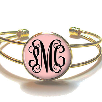 Monogram Bracelet, Blush Pink Monogram Bangle, Monogram Jewelry, Bridesmaid Gift, Personalized Bracelet - Style 471