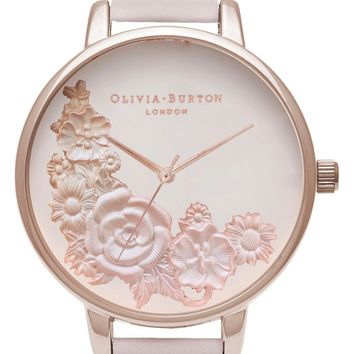Olivia Burton Begin to Blush Leather Strap Watch, 38mm | Nordstrom