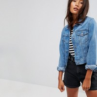 ASOS Denim Shrunken Jacket in Midwash Blue at asos.com